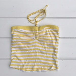 Tops - Yellow and white striped tube top